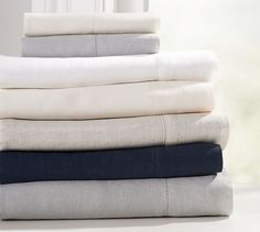 Belgian Flax Linen Sheet Set | Pottery Barn - opposite your duvet in either white, natural, or smoke