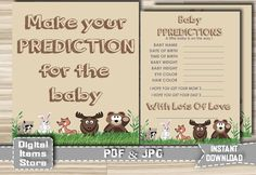 Woodland Baby Prediction - Printable Baby Shower Predictions - Animals Prediction - Baby Shower Games Woodland - Instant Download by DigitalitemsShop on Etsy