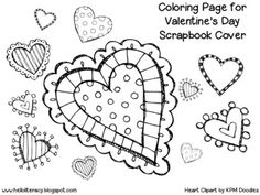 Valentine's Day Coloring Page B/W for Valentine's Day Scrapbook {for Valentine's Day Cards from Classmates}