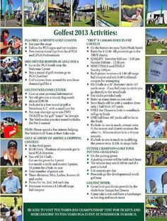 "Golfest 2013 is packed with Activities for all ages!  ""TROT""'s sponsored 1 million dollar Hole in One Contest is a fan favorite!  Join us for a fun filled weekend at The Downs Golf Practice Facility.  (11225 Racetrack Road, Oldsmar, Florida 33626)"