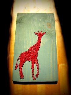Modern String Art Wooden Tablet  Giraffe by NineRed on Etsy, $38.00