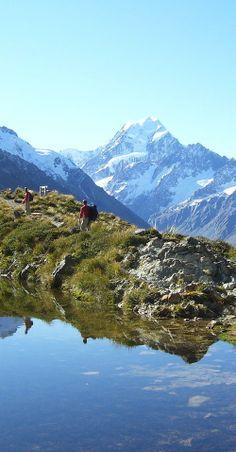 Tramping or hiking in Aoraki Mount Cook National Park - NZ