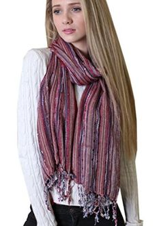 Women's Bejeweled Bliss Shimmer Scarf (Tango Red): Amazon.co.uk: Clothing