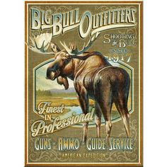 AmericanExpedition 'Big Bull Outfitters' Vintage Advertisment Plaque