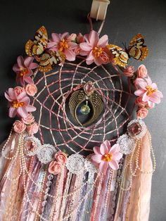 Wings of Love Fantasy Dreamcatcher Mixed Media Vintage