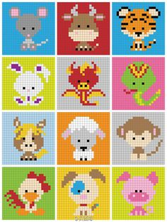 Ideas Crochet Baby Disney Perler Beads For 2019 Pixel Crochet, Bead Crochet Patterns, Hama Beads Patterns, Crochet Chart, Beading Patterns, Knitting Patterns, Crochet Baby, Mini Cross Stitch, Cross Stitch Animals
