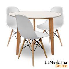juego de comedor mesa odin con sillas eames blancas en la muebleria online