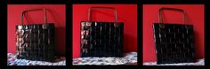 Carteras realizadas con trenzado de revistas recicladas. Interior forradas con cuerina. En este caso fue pintada color negro.Manijas metalicas.