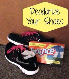 Eliminate shoe odors while you wear them with dryer sheets.