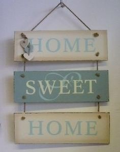 Home Sweet Home Sign with Hanging Hearts
