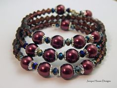 Cranberry Pearls and Crystal Memory Wire by JunqueHouseDesigns