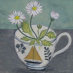 Ravillious Cup and Daisies by Debby George  Acrylic on Board. Bircham Gallery