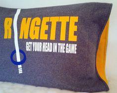 Grey ringette pillow cover decorative pillow by MyKidsquartersShop