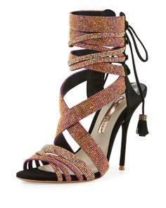 Adeline+Crystal+Lace-Up+Sandal,+Black/Pink+by+Sophia+Webster+at+Neiman+Marcus. $895.
