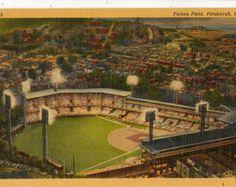 Linen Postcard, Forbes Field, Pittsburgh, PA., Pittsburgh Pirates Stadium
