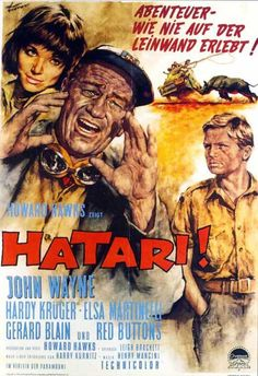 Hatari (1962) Director Howard Hawks reteams with John Wayne, who heads a group of highly skilled professional game hunters in Africa. Only they don't use bullets - they capture the ferocious big game
