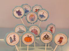 Cupcake toppers- just pictures of castle, coach, glass slipper