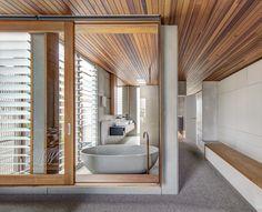 Living Screens Conceal a North Bondi Beach House and a Semi-Indoor Pool - Dwell #bathroom #bath #bathtub