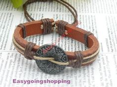 Unique handmade silver round sun pattern multilayer leather bracelet hand chain B131 - jewelry with vintage style. $2.50, via Etsy.