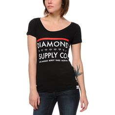 """Get your shine on in style with the Diamond Supply Co Roots scoop neck t-shirt for girls in the black colorway. The Roots standard fit scoop neck t-shirt features a custom """"Diamond Supply Co"""" graphic that has a series of small Diamond logos at front a Urban Fashion Women, Diamond Supply Co, Tee Shirts, Tees, Beirut, Apparel Design, Shirts For Girls, Moscow, Neck T Shirt"""