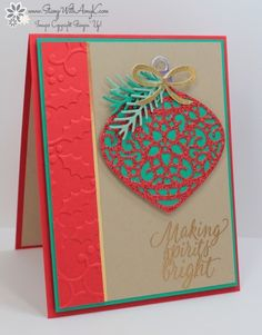 Stampin' Up! Tin of Tags, Holly TIEF, Delicate Ornaments Thinlits, Pretty Pines Thinlits - Amy K