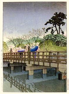 Spring Rain at Benkei Bridge  by Kawase Hasui, 1936