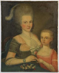 1765-82, VA, oil on canvas portrait of an older woman with grey hair and a young child,