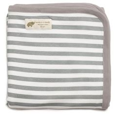 Infant Boy's Monica + Andy 'Coming Home' Organic Cotton Blanket ($38) ❤ liked on Polyvore featuring home, children's room, children's bedding, baby bedding and grey stripe