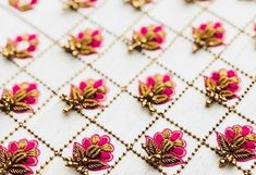 Beautiful Hand buttons with zardose,beads and resham. We specialize in customized attires crafted in high quality fabric and craftsmanship. Zardozi Embroidery, Hand Embroidery Dress, Embroidery Suits Design, Embroidery Works, Hand Embroidery Designs, Beaded Embroidery, Embroidery Patterns, Bird Embroidery, Embroidered Blouse