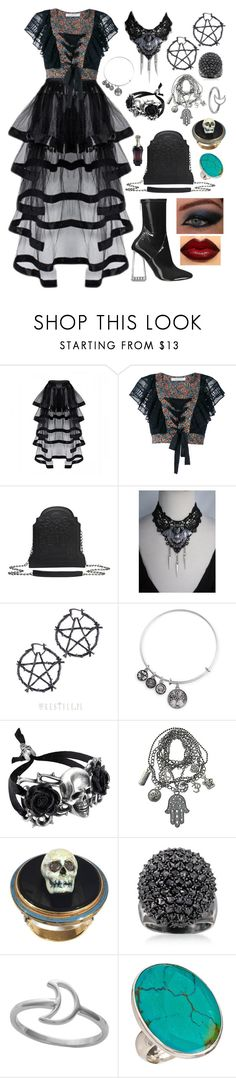 """Chy"" by mandurugo ❤ liked on Polyvore featuring Philosophy di Lorenzo Serafini, Christian Dior, Killstar, Kat Von D, Ross-Simons, Midsummer Star and Charles Albert"