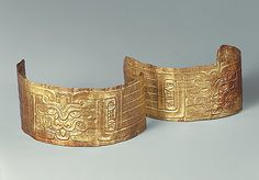 Pair of Gold Armbands Chavin Culture, Peru 7th-5th century BC Height: c.4.7 cm Length: 20.3 cm Source: Metropolitan Museum