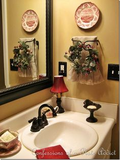Debbie's bathroom is so pretty! CONFESSIONS OF A PLATE ADDICT French Country Bath