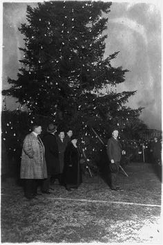 First National Christmas Tree. President Coolidge illuminating the community Christmas tree, which has been erected on the Monument Grounds, south of the White House. (History By Zim)