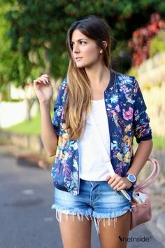 Floral Bomber Jacket: love it, style Cute Summer Outfits, Spring Outfits, Trendy Outfits, Cute Outfits, Fashion Outfits, Bomber Jacket Outfit, Floral Bomber Jacket, Love Fashion, Womens Fashion
