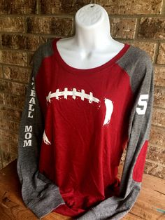 Football Laces T-Shirt football mom shirt Long by MamaGlitter