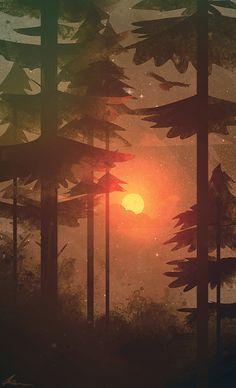 Forest and bruning sunset illustration art Concept Art Landscape, Fantasy Landscape, Landscape Art, Scenery Wallpaper, Landscape Wallpaper, Wallpaper Backgrounds, Iphone Wallpapers, Wallpaper Art, Animal Wallpaper