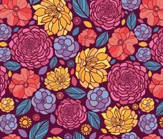 Summer Flowers Seamless Pattern fabric by oksancia on Spoonflower - custom fabric