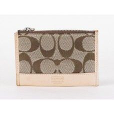 #Coach Khaki and Brown Signature Mini Skinny Keychain Wallet