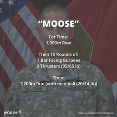 For Time: 1,000m Row; Then 10 Rounds of:; 7 Bar Facing Burpees; 3 Thrusters (95/65 lb); Then:; 1,200m Run (with med ball (20/14 lb))