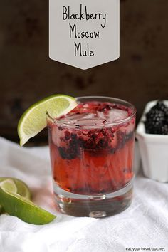 Blackberry Moscow Mule: Muddled blackberries, lime, vodka, and ginger beer. Be still my Monday-weary heart. Party Drinks, Cocktail Drinks, Fun Drinks, Alcoholic Drinks, Beverages, Cocktails, Vodka Drinks, Martinis, Mixed Drinks
