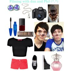 """""""Filming with dan and Phil (^.^)"""" by katie-lusk-101 on Polyvore"""