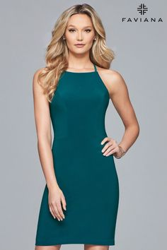 ef681147088 Faviana Style is a short jersey halter dress with back strap detail. This  is a great dress for a birthday party