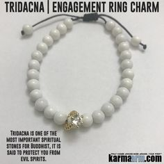 BRIDAL PARTY: Tridacna   Engagement Ring Charm   Happily Ever After Yoga Chakra Bracelet