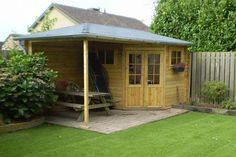 Kundenbild: 5-Eck Gartenhaus mit Anbau Modell Mosel-28