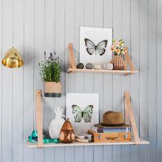 Wooden Shelf with Leather Strap