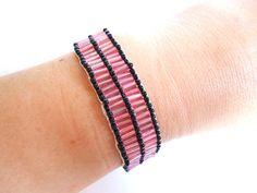 unique beaded bracelet in pink and black by VazJewelryOriginals