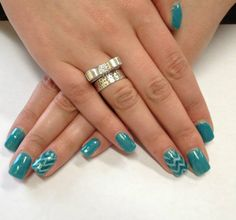Teal Gel Nails with chevron accent nail by The Henhouse in Cochrane Alberta Canada 403-932-4640