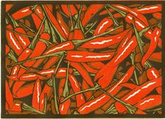 Lino Prints | Annamie Pretorius.  I really like this piece because of the white hight lights used and the contrast between the red and the green.