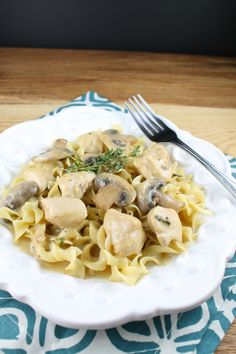 Chicken and Mushroom Skillet with Egg Noodles from Miss in the Kitchen