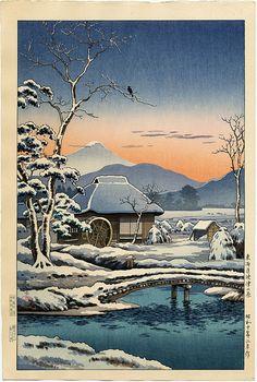 Tsushima Koitsu, Snow in a Farmyard - Yaizu, Tokaido, (1936) c. 1948